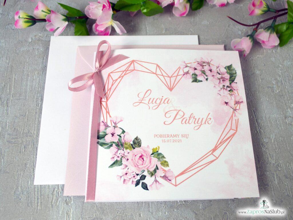 Zaproszenia ślubne z sercem geometrycznym i kwiatami róży ZAP-41-23-min