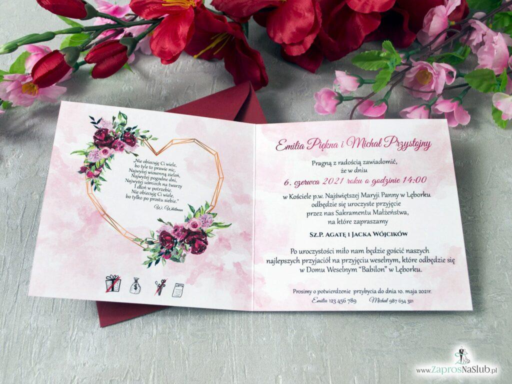 Zaproszenia na ślub czerwone, kwiatowe piwonie, złote serce geometryczne ZAP-41-08