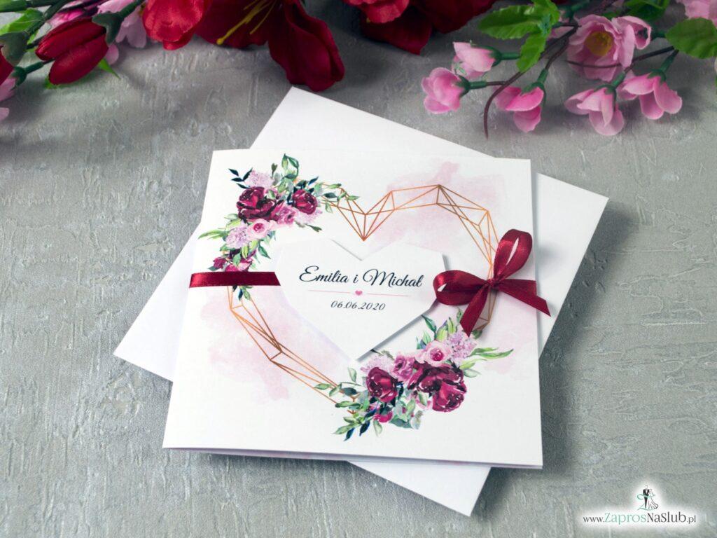 Zaproszenia na ślub geometryczne serce, kwiaty piwonii ZAP-41-08