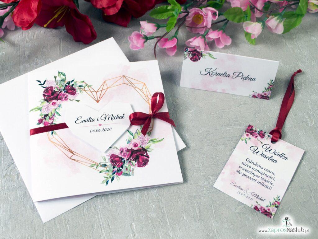 Zaproszenia na ślub geometryczne serce, piwonie, kwiaty zielone liście ZAP-41-08
