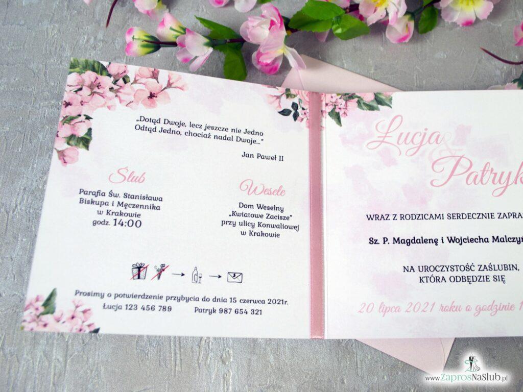 Zaproszenia na ślub różowe kwiaty, geometryczne serce, różowa wstążka ZAP-41-23-min