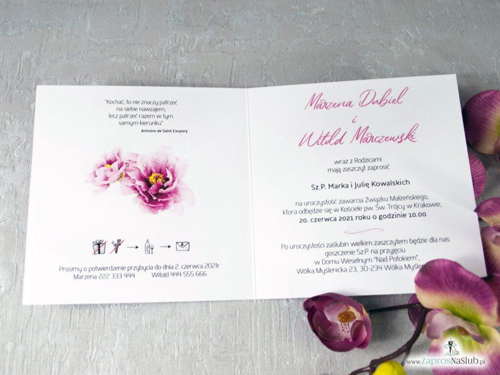Zaproszenia na ślub z kwiatami piwonii ZAP-39-01-min