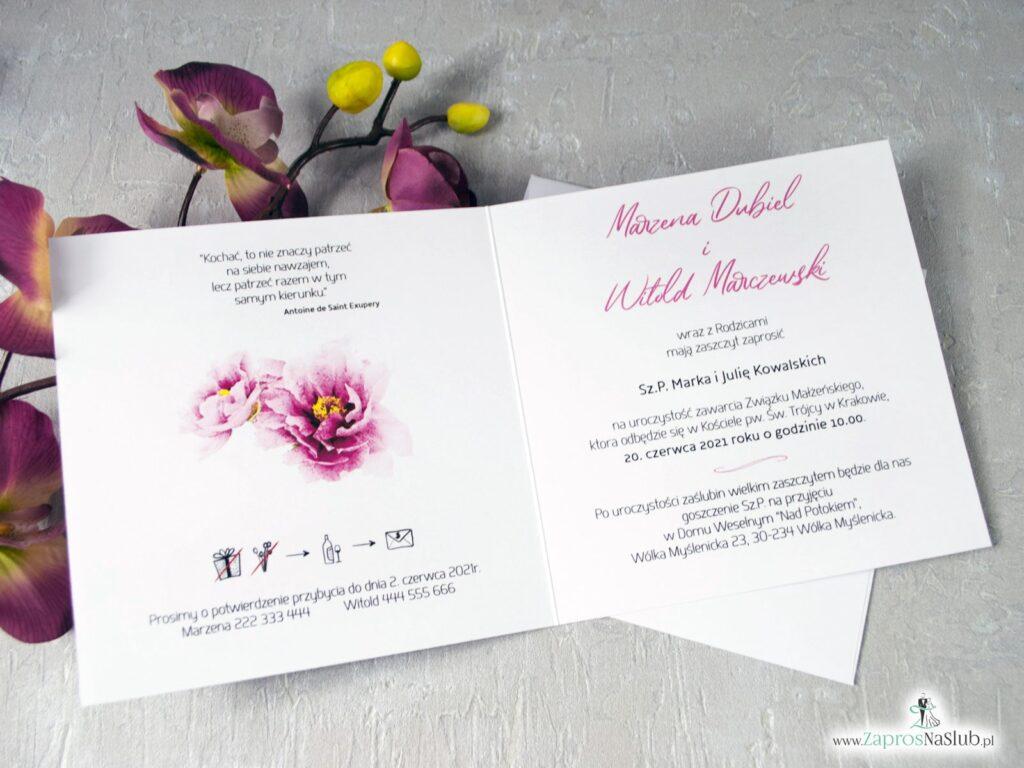 Zaproszenia na ślub z kwiatkami piwonii. Różowe kwiaty ZAP-39-01-min