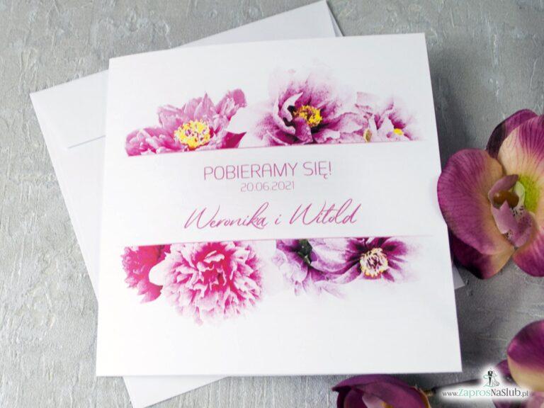 Zaproszenie ślubne kwiatowe z piwoniami różowymi, eleganckie i modne 2021 ZAP-39-01-min