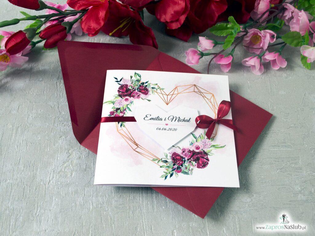 Zaproszenie ślubne z kwiatami piwonii i geometrycznym sercem ZAP-41-08