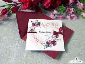 Zaproszenia ślubne z motywem geometrycznego serca i kwiatami piwonii. ZAP-41-08