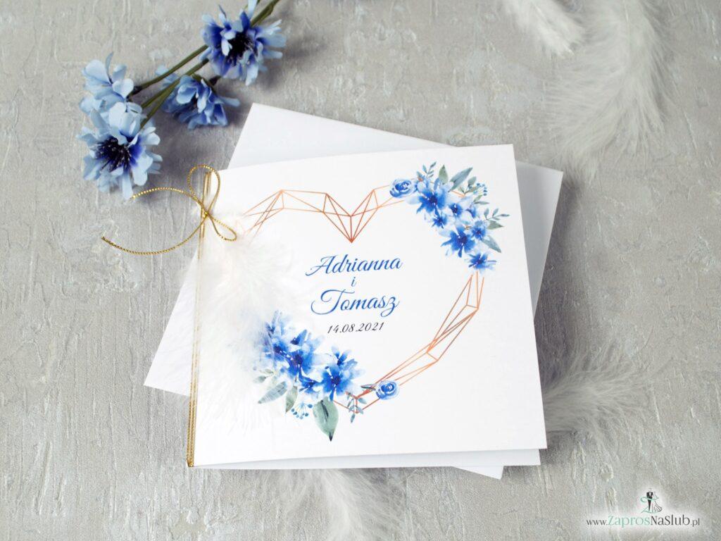 Zaproszenie na ślub z sercem geometrycznym i piórkiem z motywem niebieskich kwiatów ZAP-41-22
