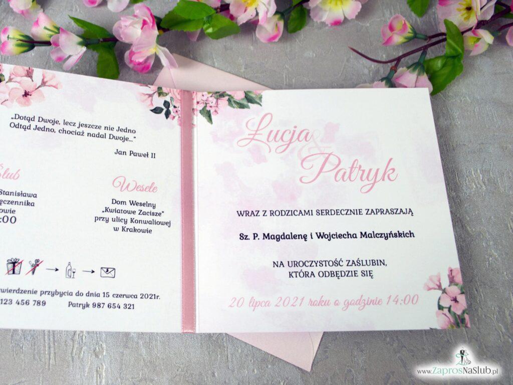 Zaproszenie ślubne z kwiatami róży w kolorze różowym i geometrycznym sercem ZAP-41-23-min