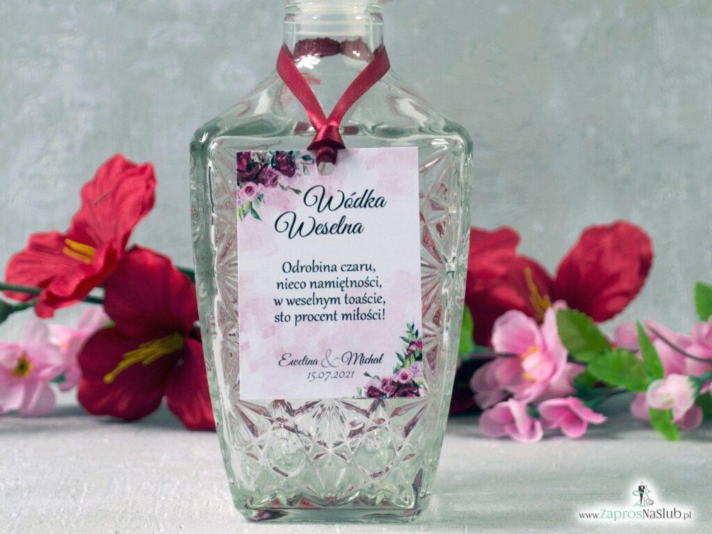 Zawieszka na wódkę z kwiatami piwonie czerwona wstążka, modna ZAW-41-08