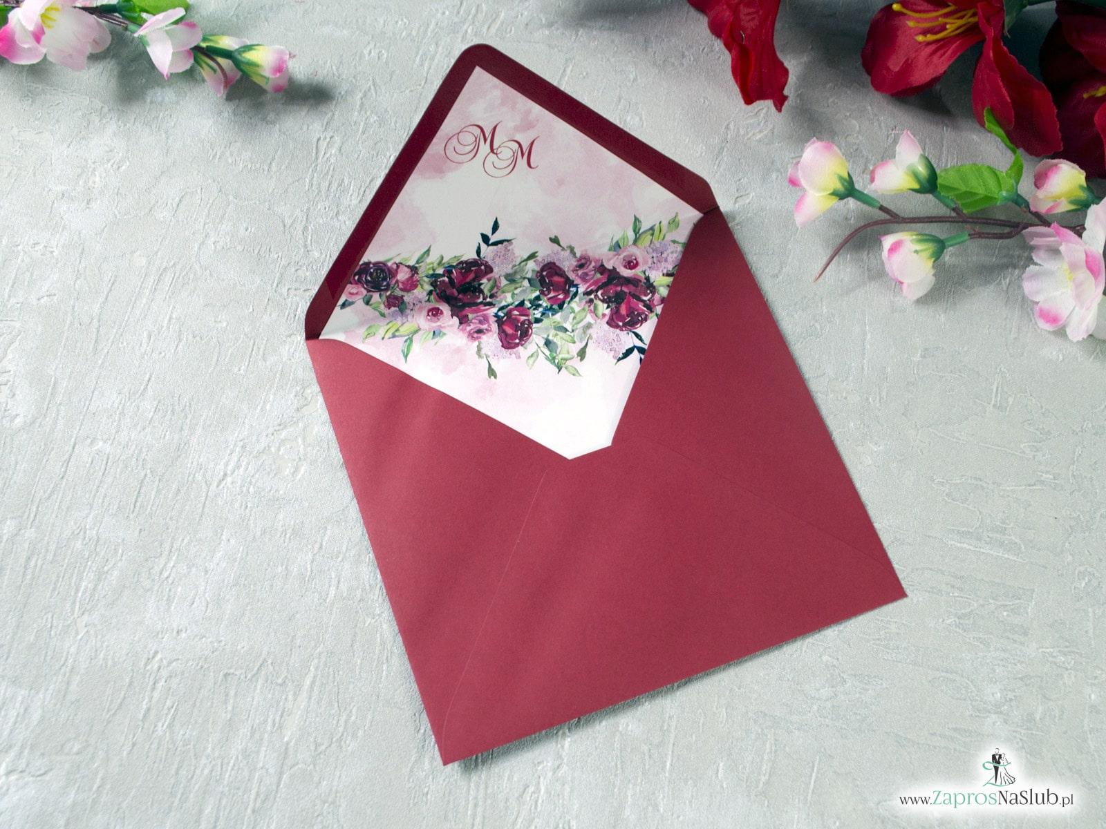 Bordowa koperta z wkładką kwiatową - piwonie. WDK-41-08