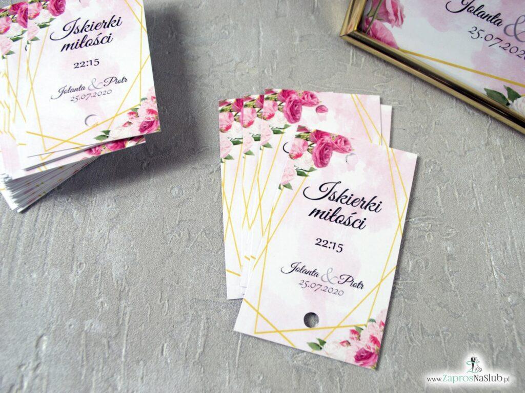 Iskierki miłości bilecik na zimny ogień z różowymi kwiatami IMZO-131
