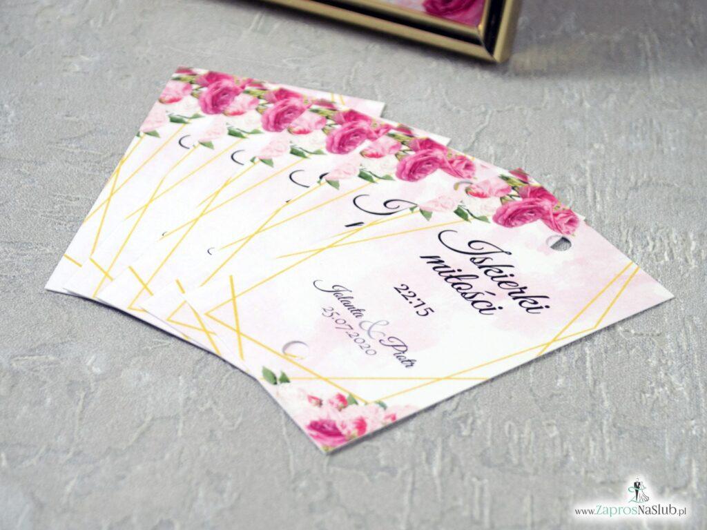Iskierki miłości - bileciki na zimne ognie z różowymi kwiatami i złotymi liniami IMZO-131