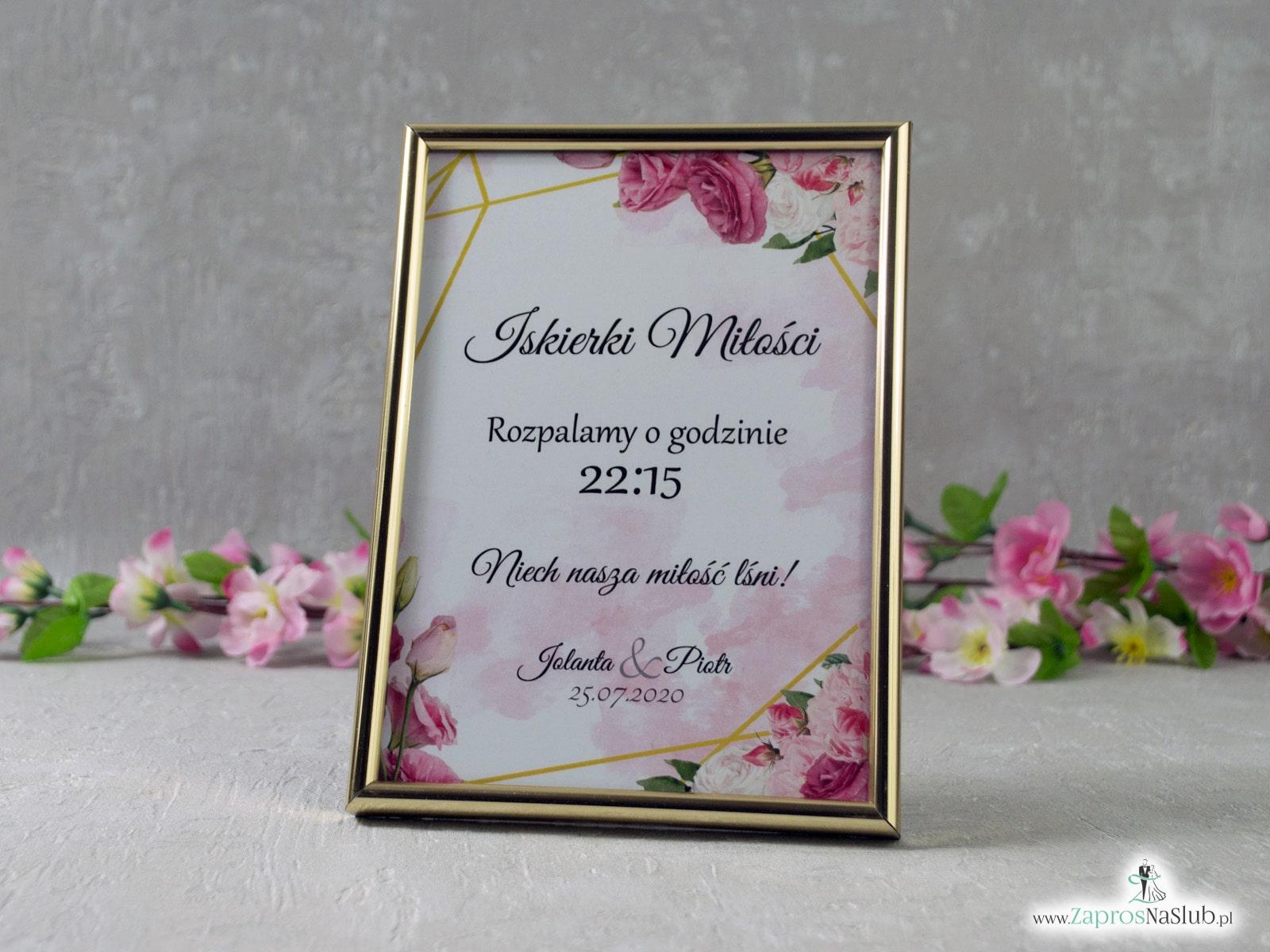 Iskierki miłości – informacja w ramce z różowymi kwiatami i złotymi liniami IMIR-131  - Zaproszenia ślubne ZaprosNaSlub