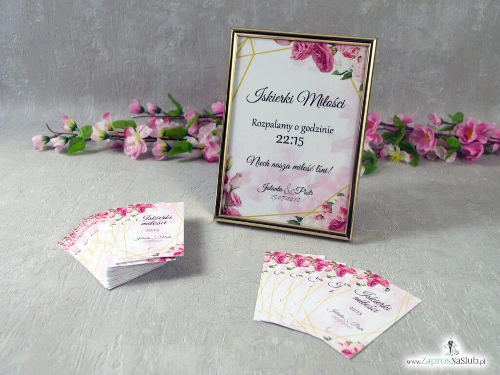 Iskierki miłości z różowymi kwiatami w różnych odcieniach i złotymi liniami, geometryczne IMZO-131