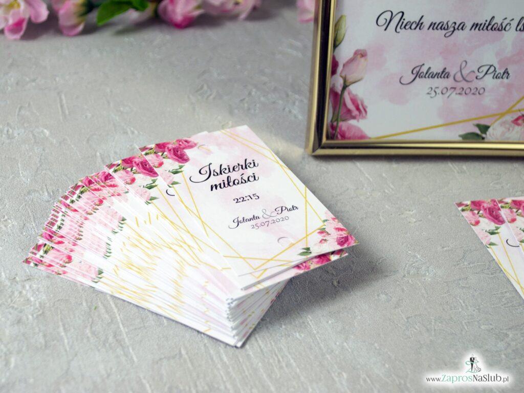 Karteczki na zimne ognie, iskierki miłości z różowymi kwiatami i złotymi liniami IMZO-131