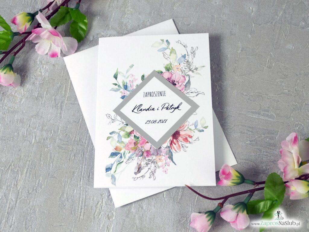 Modne zaproszenia ślubne 2021 z delikatnymi konturowymi kwiatami ZAP-129