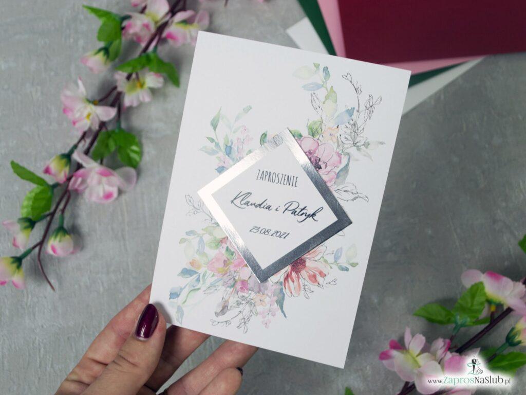 Modne zaproszenia ślubne z delikatnymi kwiatami i efektem lustra. ZAP-129