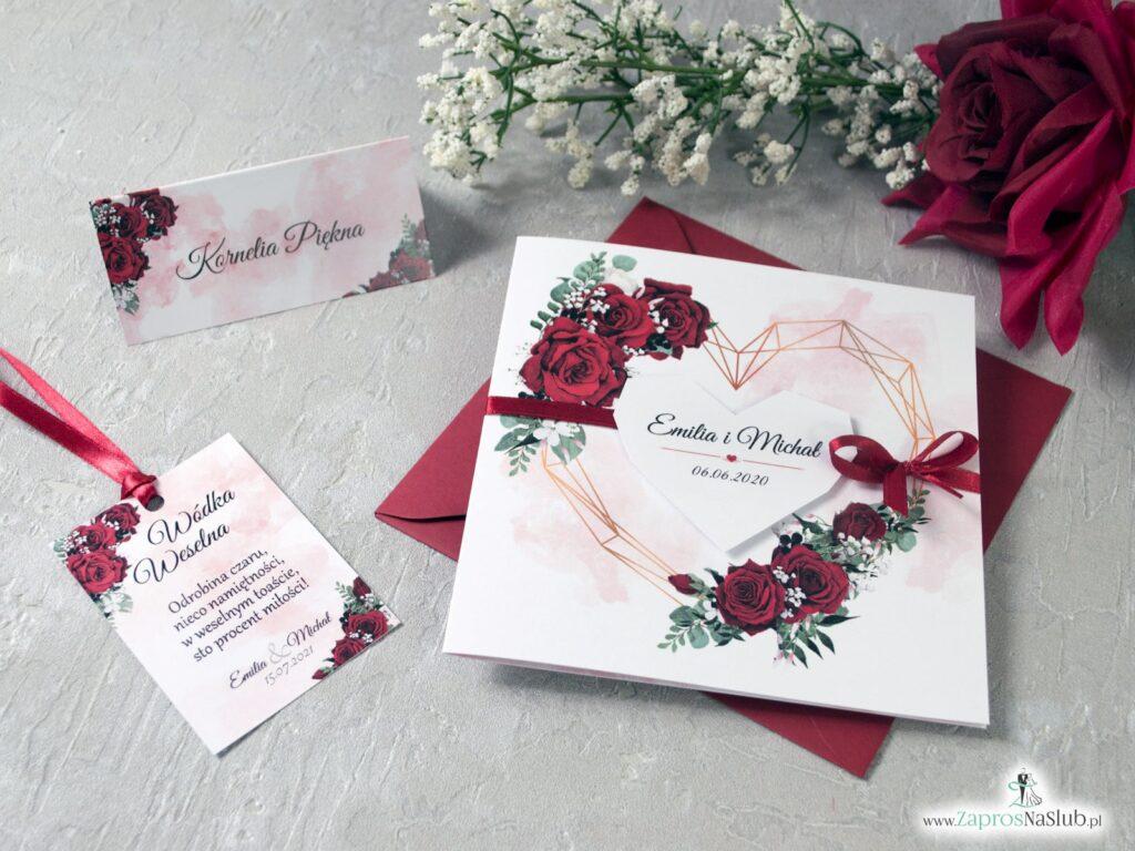 Modne zaproszenia na ślub z geometrycznym sercem oraz kwiatami róży ZAP-41-09