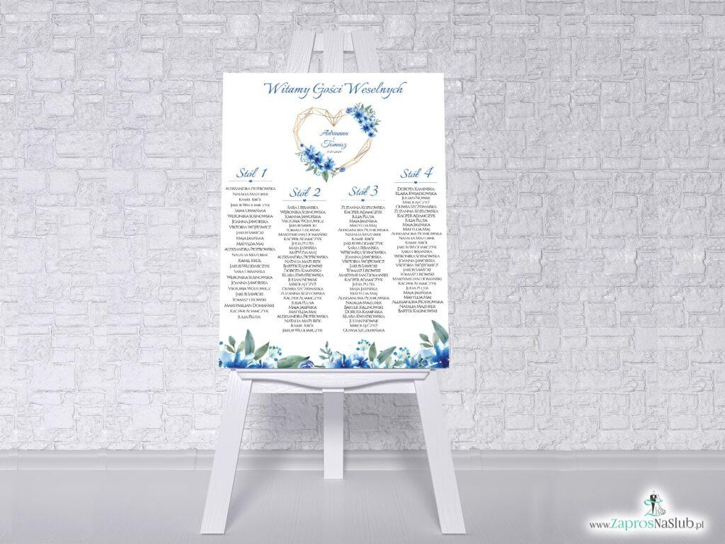 Plan stołów gości weselnych z niebieskimi kwiatami PSDP-41-22-min