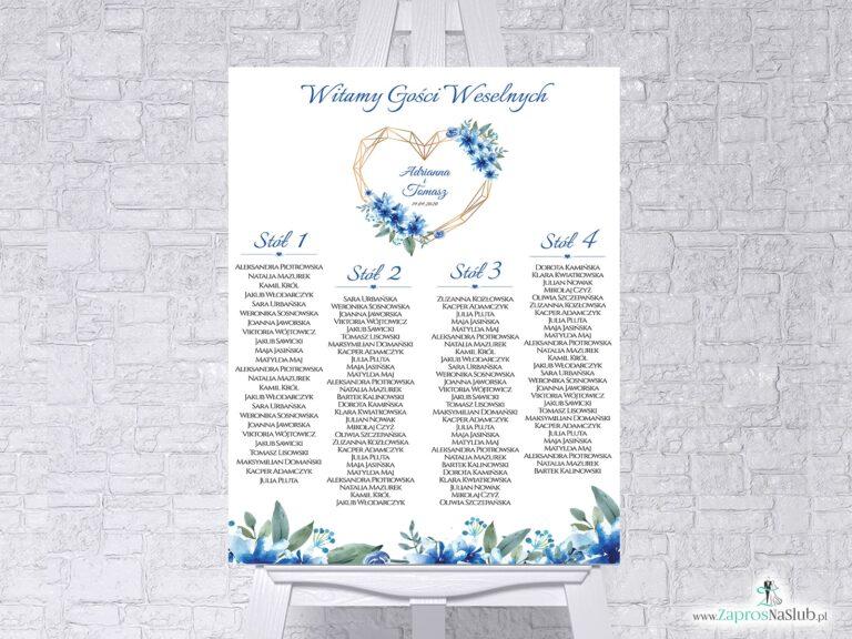 Plan stołów z niebieskimi kwiatami i geometrycznym złotym sercem w formie plakatu lub tablicy PCV 5mm. PSDP-41-22 - ZaprosNaSlub
