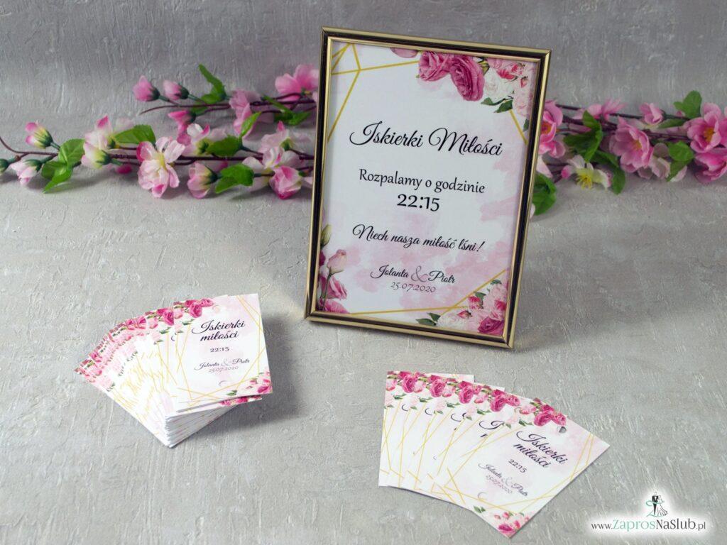 Tabliczka informacyjna Iskierki miłości ze złotymi liniami i różowymi kwiatami w różnych odcieniach IMIR-131