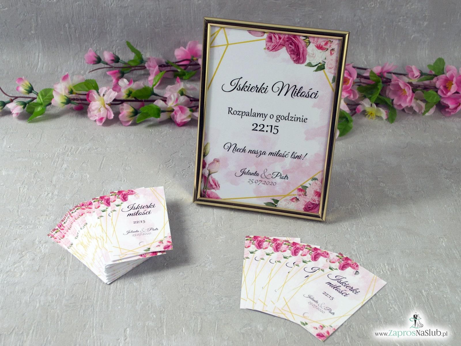 Tabliczka informacyjna Iskierki miłości ze złotymi liniami i różowymi kwiatami w różnych odcieniach IMIR-131 ZaprosNaSlub