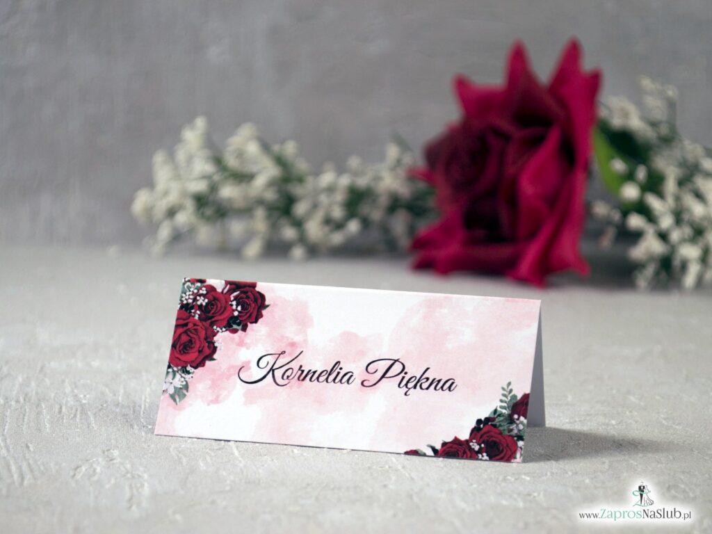Winietki ślubne z różami, czerwone kwiaty WIN-41-09