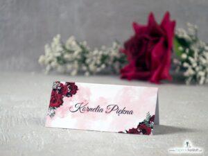Winietki na stół z czerwonymi różami oraz delikatnym tłem. WIN-41-09
