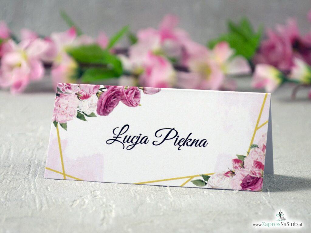 Winietki na ślub kwiatowe z różowymi kwiatami w różnych odcieniach i złotymi geometrycznymi liniami. WIN-131