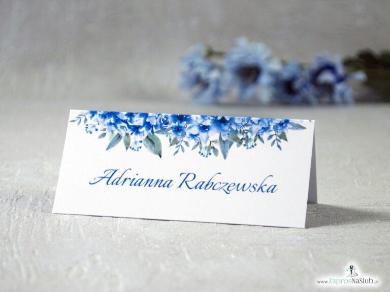 Winietki na stół z niebieskimi kwiatami WIN-41-22 - ZaprosNaSlub