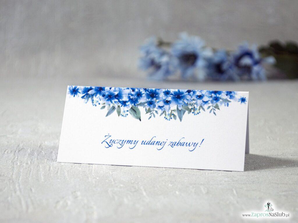 Winietki na stół z niebieskimi kwiatami, niebieskie-min