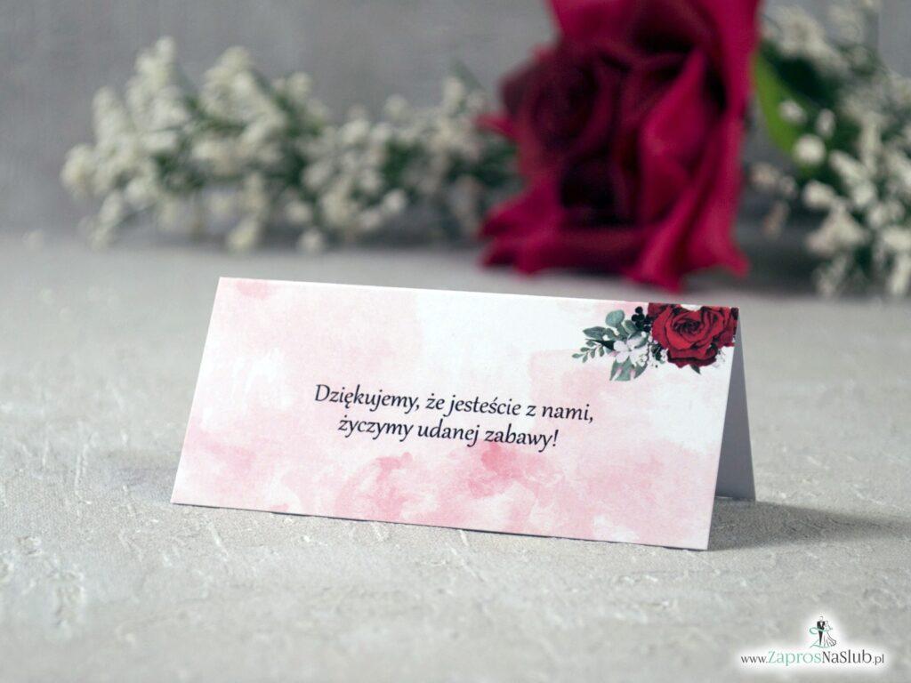 Winietki na stół z różami czerwonymi WIN-41-09