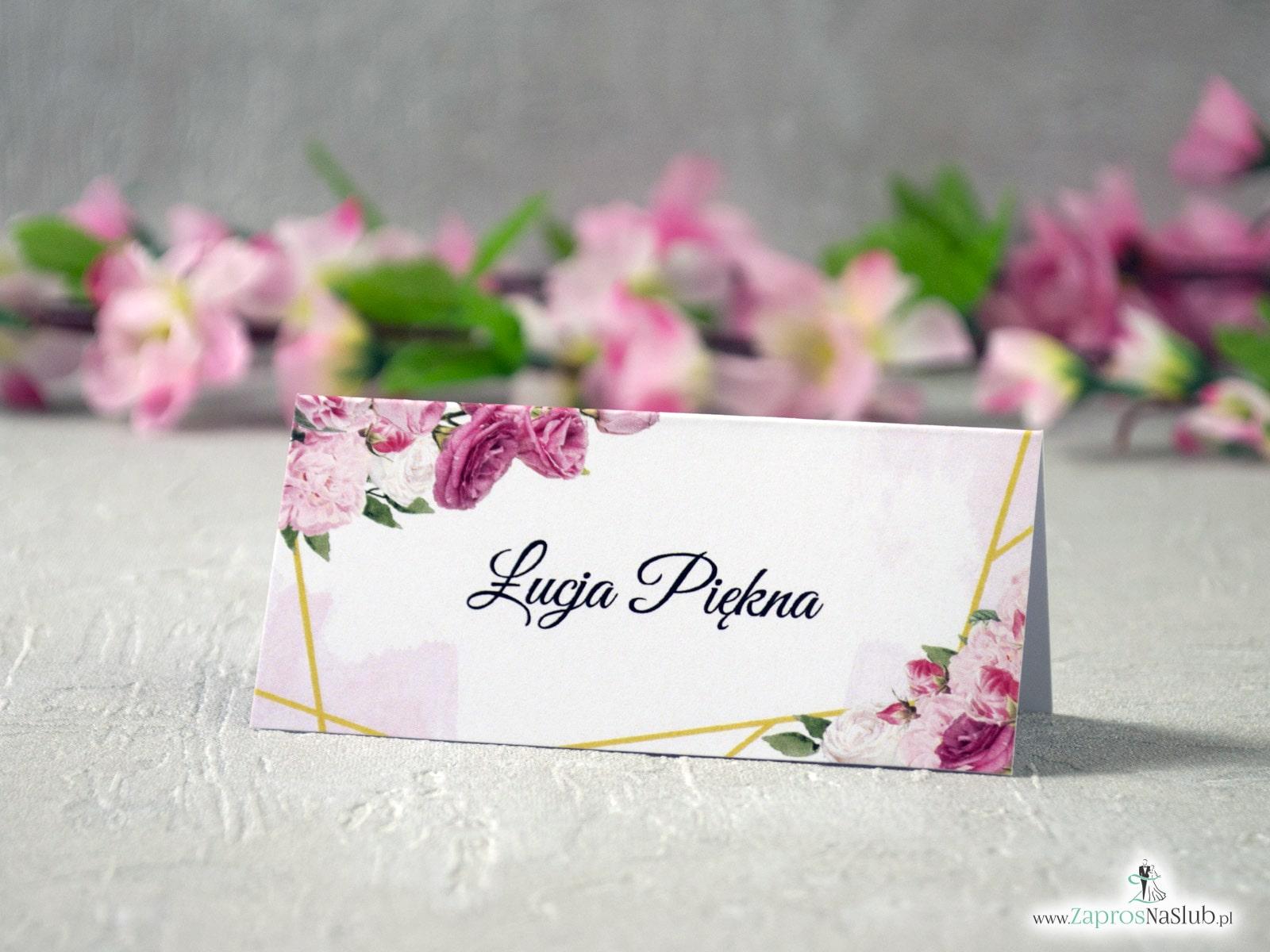 Winietki ślubna na stół z różowymi kwiatami, złotymi liniami i delikatnym tłem, geometryczne. WIN-131  - Zaproszenia ślubne ZaprosNaSlub