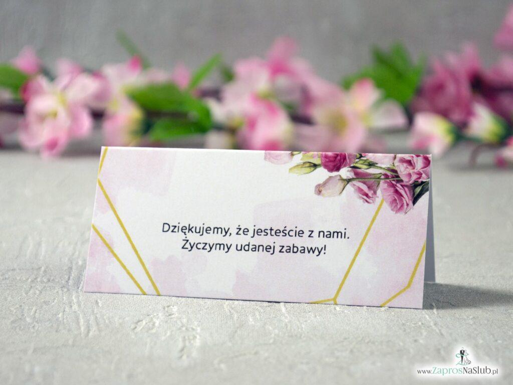 Winietki na stół ze złotymi liniami i kwiatami w kolorze różowym. WIN-131