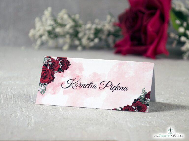 Winietki z czerwonymi kwiatami róży oraz delikatnym tłem WIN-41-09