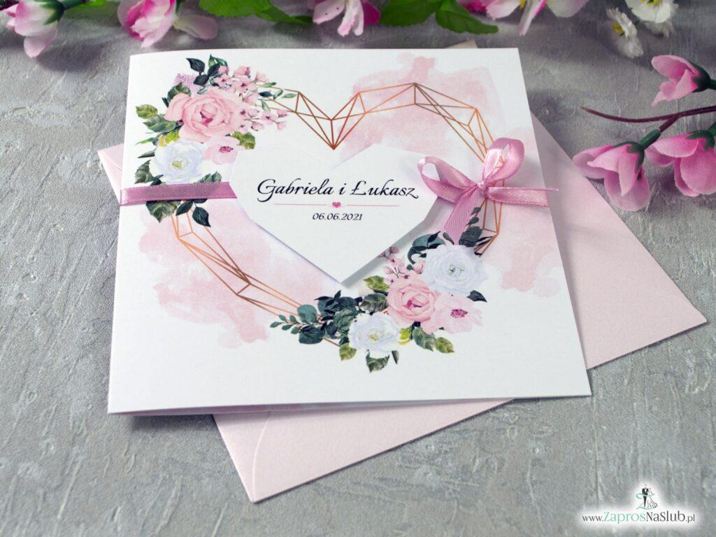 Zaproszenia ślubne z jasnymi różami, różowe i białe kwiaty, serce geometryczne ZAP-41-12-min