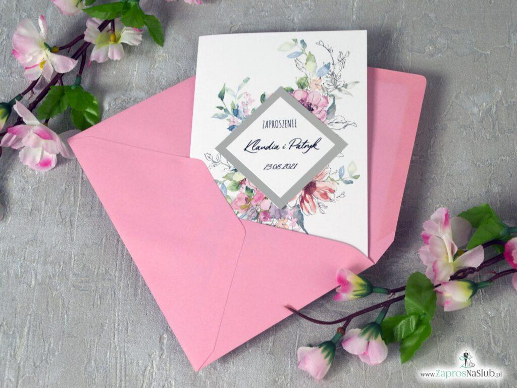 Zaproszenia ślubne z kwiatami i rombem z efektem srebrnego lustra, modne różowe konturowe kwiaty. ZAP-129