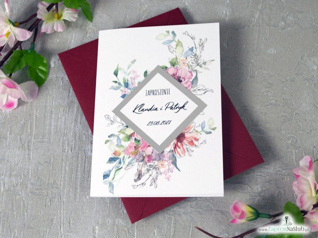 Zaproszenia ślubne z kwiatami, modne konturowe kwiaty, efekt lustra ZAP-129