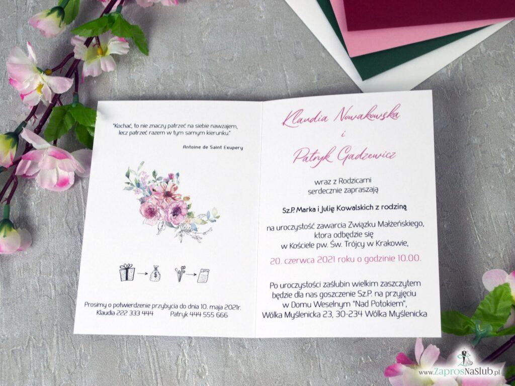 Zaproszenia ślubne z kwiatami różowymi, eleganckie, efekt lustra ZAP-129