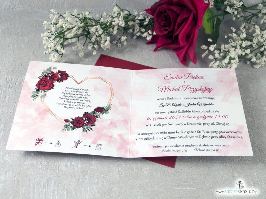 Zaproszenia ślubne z kwiatami róży oraz geometrycznym sercem ZAP-41-09