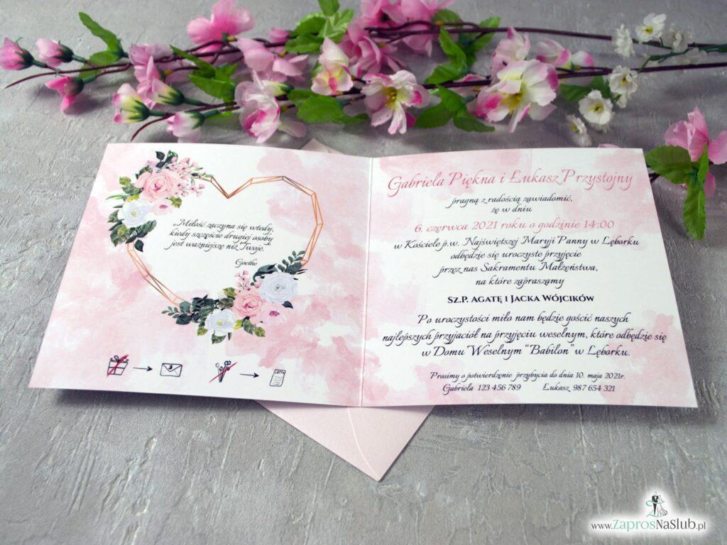 Zaproszenia ślubne z pudrowymi różami, modne 2021 geometryczne ZAP-41-12-min