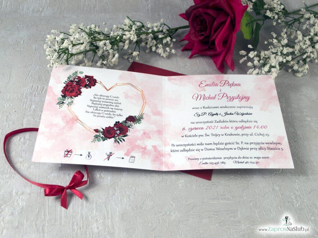 Zaproszenia na ślub z czerwonymi różami i sercem, geometryczne ZAP-41-09