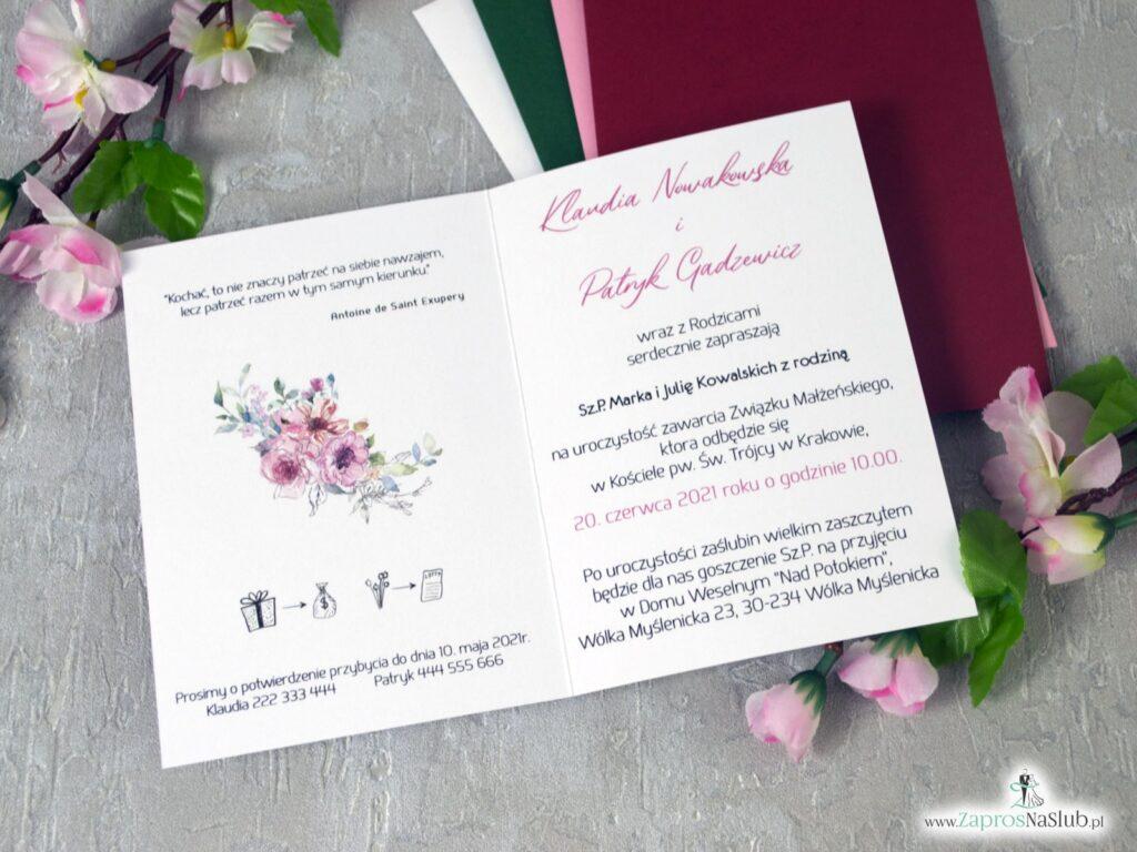 Zaproszenia na ślub z modnymi kwiatami w odcieniach różu, efekt lustra ZAP-129
