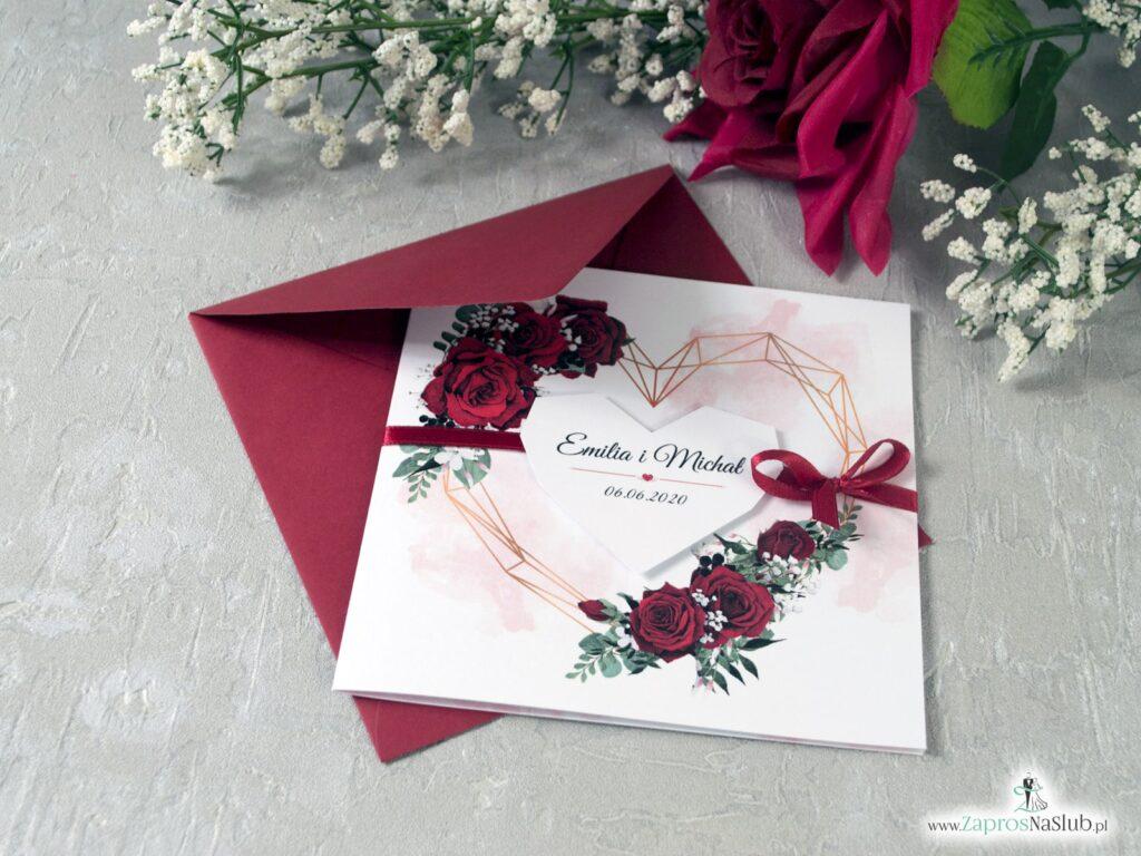 Zaproszenia na ślub z różami i geometrycznym sercem