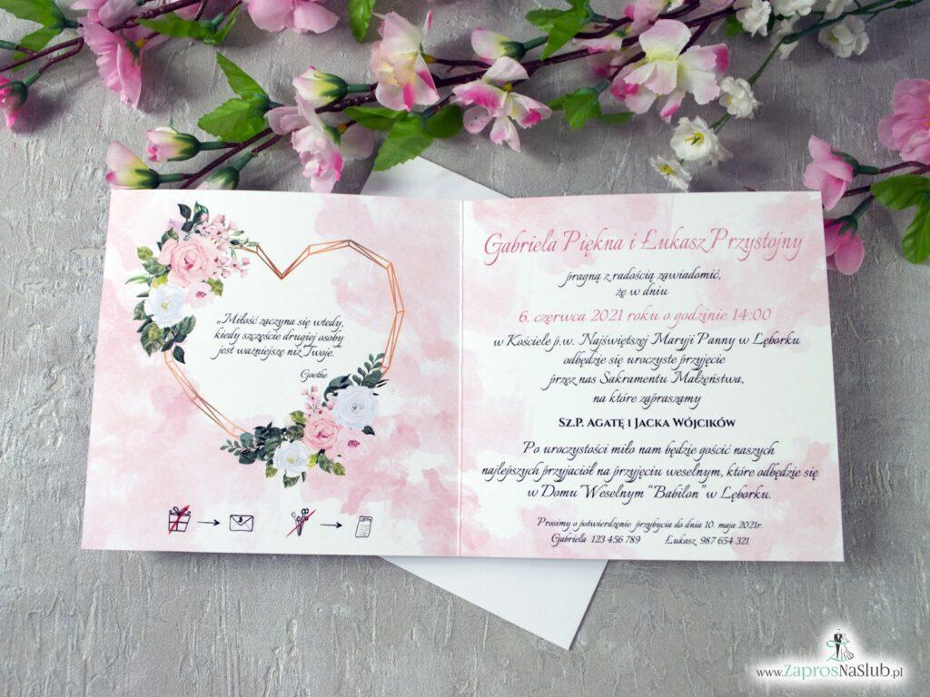Zaproszenia na ślub z różowymi i białymi różami oraz geometrycznym sercem ZAP-41-12-min
