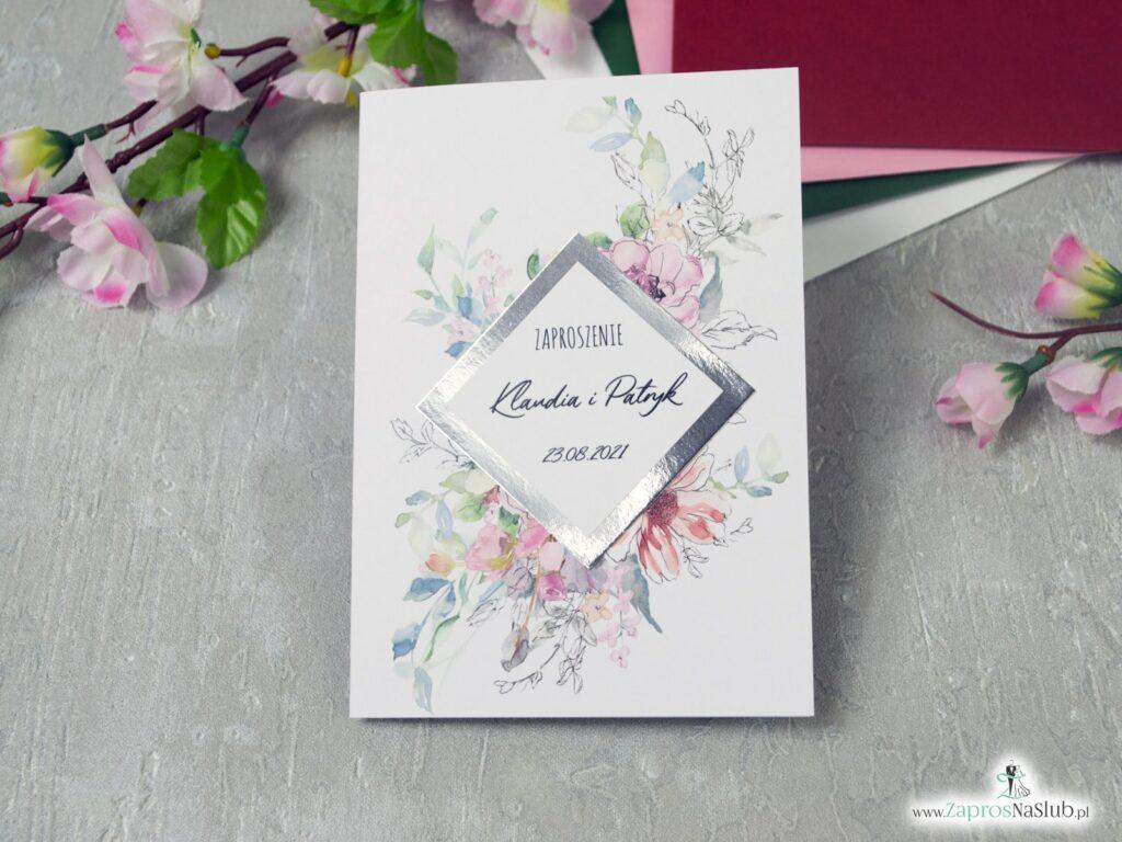 Zaproszenia na ślub z różowymi kwiatami i motywem tekstowym na srebrnym papierze z efektem lustra ZAP-129