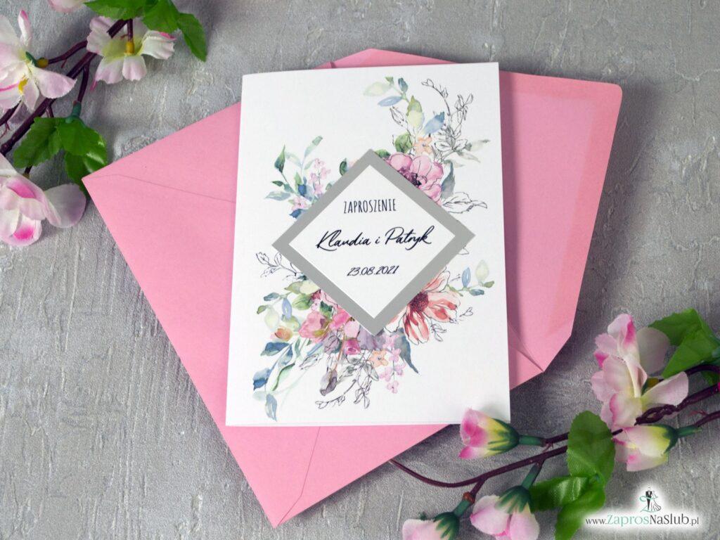 Zaproszenia na ślub z różowymi kwiatami i srebrnym rombem z efektem lustra ZAP-129