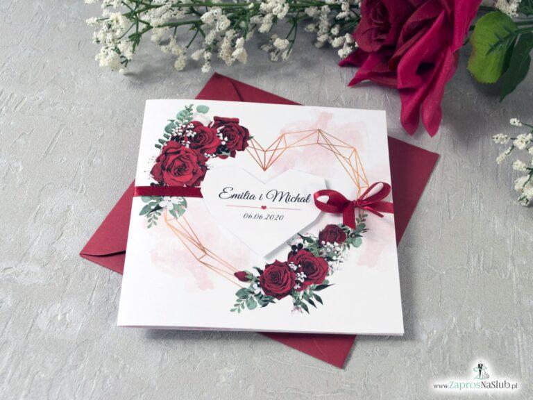 Zaproszenia na ślub z czerwonymi różami i geometrycznym sercem oraz wstążką ZAP-41-09