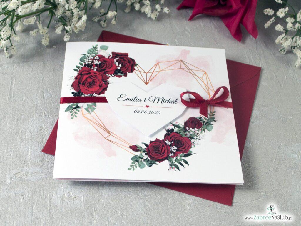 Zaproszenia z różami i sercem geometrycznym oraz delikatnym tłem. ZAP-41-09