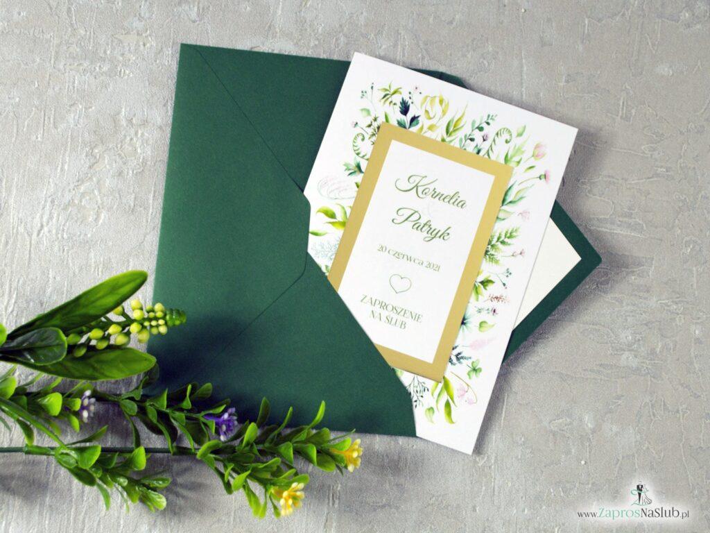 Zaproszenie ślubne liście zielone zielona koperta wkładka styl rustykalny zaprosnaslub